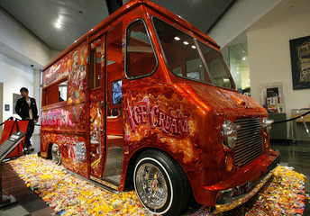 A 1953 Chevrolet ice cream truck is displayed at Petersen Automotive museum in Los Angeles