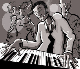 Wall Murals Art Studio Piano jazz, singer and saxophonist