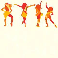 isolated silhouette of people dancing, multi-colored triangles