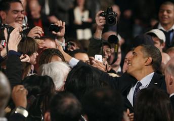 U.S. President Barack Obama greets guests after delivering remarks at Lehigh Carbon Community College in Allentown, Pennsylvania