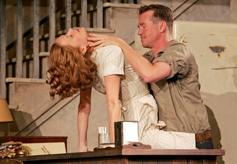 U.S. actor Kilmer rehearses in the play The Postman Always Rings Twice in London.