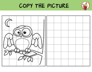 Owl sitting on the branch. Copy the picture. Coloring book. Educational game for children. Cartoon vector illustration