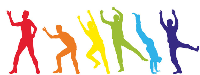 illustration of an isolated silhouette of people dancing a dance, multi-colored
