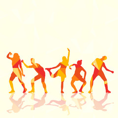 illustration of an isolated silhouette of a girl and guys dancing, colorful