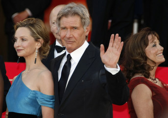 "Cast member Ford and Allen arrive for screening of film ""Indiana Jones and the Kingdom of the Crystal Skull"" in Cannes"