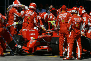 Ferrari Formula One driver Raikkonen of Finland stops in the pits during the Australian F1 Grand Prix in Melbourne