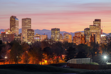 Night Downtown Of Denver