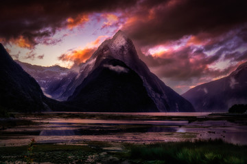 Sunset Afterglow Over Mitre Peak