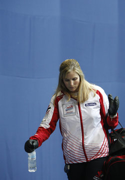 Team Canada skip Jones leaves after her team was defeated by team Sweden in playoffs at the 2009 World Women's Curling Championship in Gangneung