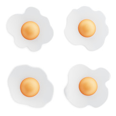 Fond de hotte en verre imprimé Ouf Fried eggs isolated on white background. 3D illustration