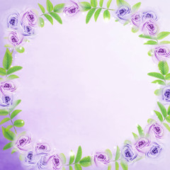 purple roses flower round frame and green leaf with copy space for text. Idea for wedding invitation card