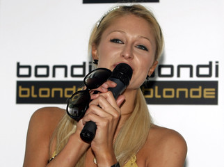 Paris Hilton talks at a media event in Sydney