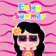 Cute girl wears glasses vector cartoon, summer postcard, wallpaper, and greeting card, T-shirt design for kids