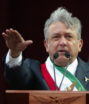 """Andres Manuel Lopez Obrador is worn in as """"legitimate president""""  at Mexico City's Zocalo square"""