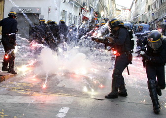 French riot policemen are seen during a demonstration against the privatisation of the SNCM (Nationa..