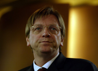 GUY VERHOFSTADT ATTENDS JOINT PRESS CONFERENCE WITH SPANISH COUNTERPART.