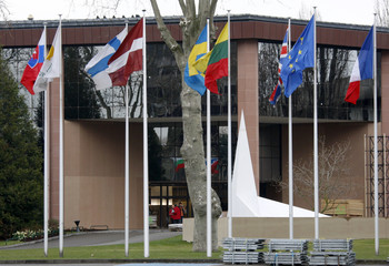 A representation of the symbol of the NATO is seen in front of Strasbourg's Congress Center