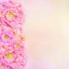 Pink roses flower border background with copy space for text. Idea for wedding card, love, valentine or any special events