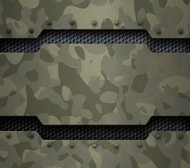 Wall Mural - Grunge military metal background with camouflage and rivets 3d illustration
