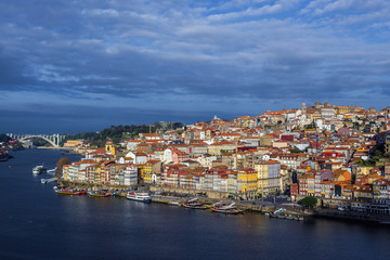 Morning view of Douro River and Porto city in Portugal