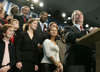 New York mayor Bloomberg delivers his victory speech to supporters in New York