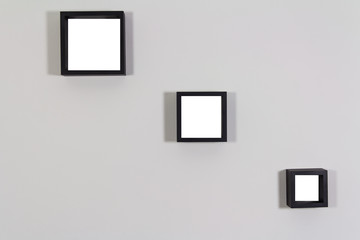 Blank wooden frames template set on the inside wall