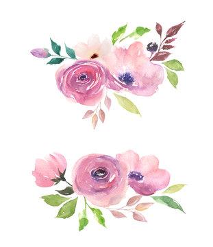 Set watercolor floral compositions