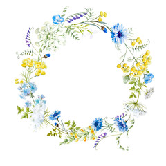 Watercolor floral wreath