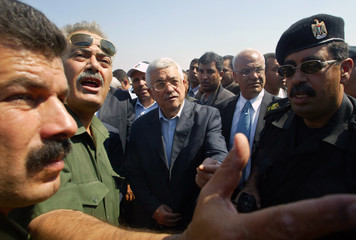 Palestinian President Mahmoud Abbas tours former Israeli settlements after Israeli completed its ...