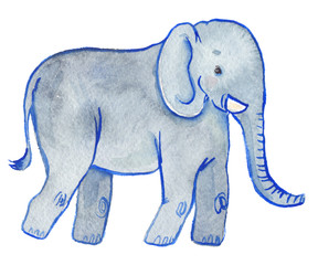 Cute walking elephant painted in watercolor on clean white background