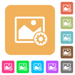 Image settings rounded square flat icons