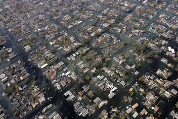 Homes remain surrounded by floodwaters in the aftermath of Hurricane Katrina.