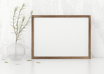 Horizontal frame poster mock up with green plant in vase white stucco wall background. 3d rendering.