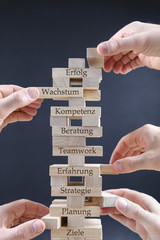 wooden blocks used for business concept