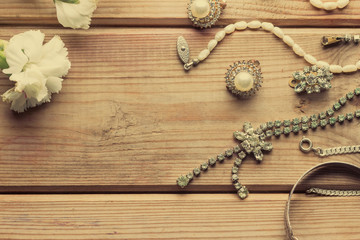 antique vintage necklace on wooden table
