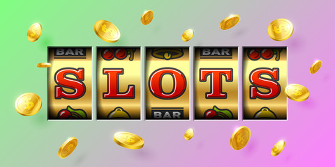 Slot machine gambling game casino banner with Slots inscription and flying winning coins around