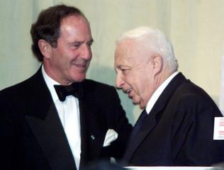 ISRAEL PRIME MINISTER ARIEL SHARON AND MORTIMER ZUCKERMAN.