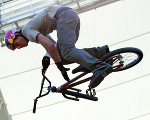 Cory Bohan of Australia wins bike stunt durt category final at the X-Games competition in Los Angeles.