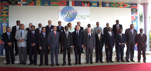 Group photo of the Caribbean heads of states gathered for the first Franco-Caribbean summit  which t..