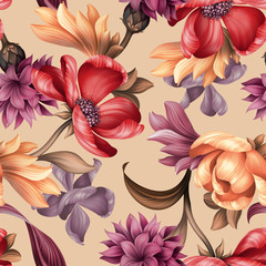 Poster Bloemen seamless floral pattern, wild red purple flowers, botanical illustration, colorful background, textile design