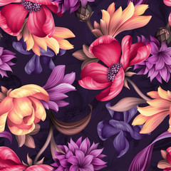 seamless floral pattern, wild red purple flowers, botanical illustration, colorful background, textile design