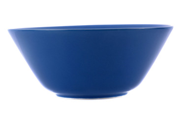blue ceramic bowl isolated  on white background