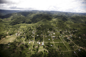 A small town is seen in an aerial picture near the border with Belize