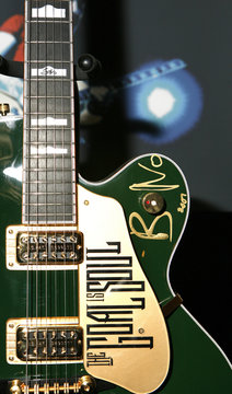 """A Bono signed Irish Falcon Gretsch Guitar designed specifically for Bono can be seen as part of the """"Icons of Music"""" collection of music memorabilia to be auctioned off for the """"Music Rising"""" benefit for Gulf Coast musicians in New York"""
