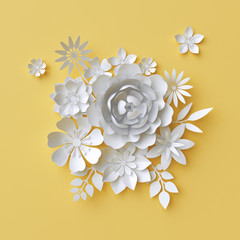 3d render, abstract paper flowers, decorative yellow floral background, greeting card template, bridal bouquet, craft design elements