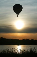 HOT AIR BALLOON FLOATS OUTSIDE VELIKIE LUKI.