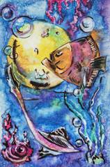 Fishes in sea water, original watercolor
