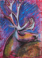 Deer head, original painting