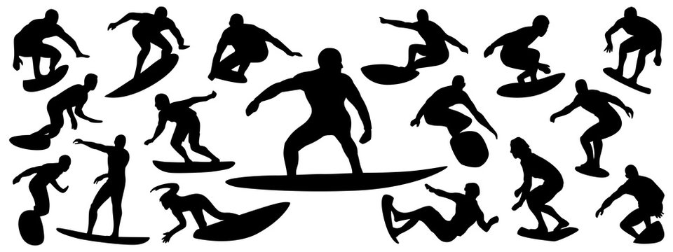 Surfing Silhouette, vector set of surfer silhouette, surf vector pack