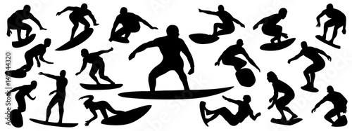 Surfing Silhouette Vector Set Of Surfer Silhouette Surf